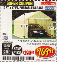 Harbor Freight Coupon COVERPRO 10 FT. X 17 FT. PORTABLE GARAGE Lot No. 69039/60727/62286/62860/63055/62864/62859 Expired: 7/31/19 - $169.99