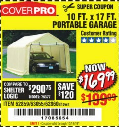 Harbor Freight Coupon COVERPRO 10 FT. X 17 FT. PORTABLE GARAGE Lot No. 69039/60727/62286/62860/63055/62864/62859 Expired: 10/14/19 - $169.99