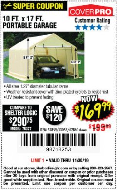 Harbor Freight Coupon COVERPRO 10 FT. X 17 FT. PORTABLE GARAGE Lot No. 69039/60727/62286/62860/63055/62864/62859 Expired: 11/30/19 - $169.99