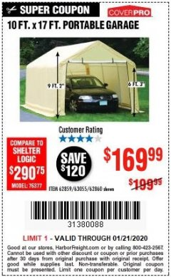 Harbor Freight Coupon COVERPRO 10 FT. X 17 FT. PORTABLE GARAGE Lot No. 69039/60727/62286/62860/63055/62864/62859 Expired: 1/21/20 - $169.99