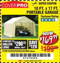 Harbor Freight Coupon COVERPRO 10 FT. X 17 FT. PORTABLE GARAGE Lot No. 69039/60727/62286/62860/63055/62864/62859 Valid Thru: 2/3/20 - $169.99