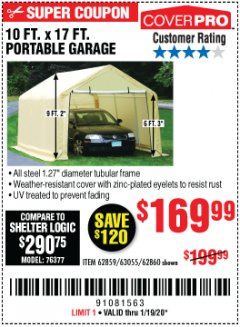 Harbor Freight Coupon COVERPRO 10 FT. X 17 FT. PORTABLE GARAGE Lot No. 69039/60727/62286/62860/63055/62864/62859 Expired: 1/19/20 - $169.99