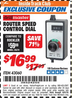 Harbor Freight ITC Coupon ROUTER SPEED CONTROL DIAL Lot No. 43060 Valid Thru: 8/31/19 - $16.99