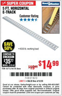 Harbor Freight Coupon 5 FT HORIZONTAL E-TRACK Lot No. 66726 EXPIRES: 6/30/20 - $14.99