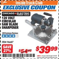 Harbor Freight ITC Coupon 120 VOLT CIRCULAR SAW BLADE SHARPENER Lot No. 96687 Expired: 1/31/20 - $39.99
