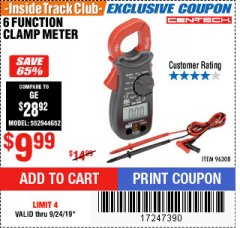 Harbor Freight ITC Coupon 6 FUNCTION DIGITAL MULTIMETER Lot No. 96308 Valid Thru: 9/24/19 - $9.99
