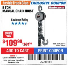 Harbor Freight ITC Coupon 5 TON CHAIN HOIST Lot No. 60718/2239 Expired: 12/31/19 - $109.99