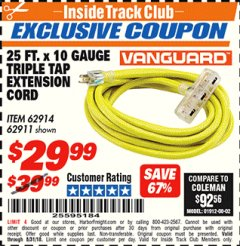 Harbor Freight ITC Coupon 25 FT X 10 GAUGE TRIPLE TAP EXTENSION CORD Lot No. 62914/61993/62911 Expired: 8/31/18 - $29.99
