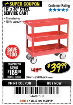 Harbor Freight Coupon 16 x 30 THREE SHELF STEEL SERVICE CART Lot No. 6650/62179/61165 Expired: 11/30/18 - $39.99