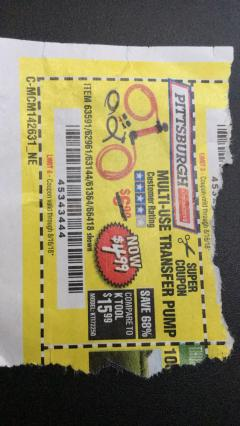 Harbor Freight Coupon MULTI-USE TRANSFER PUMP Lot No. 63144/63591/61364/62961/66418 Expired: 8/16/18 - $4.99
