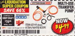 Harbor Freight Coupon MULTI-USE TRANSFER PUMP Lot No. 63144/63591/61364/62961/66418 Expired: 5/31/19 - $4.99