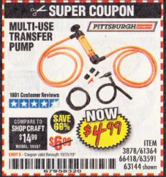 Harbor Freight Coupon MULTI-USE TRANSFER PUMP Lot No. 63144/63591/61364/62961/66418 Expired: 10/31/19 - $4.99