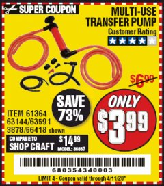 Harbor Freight Coupon MULTI-USE TRANSFER PUMP Lot No. 63144/63591/61364/62961/66418 EXPIRES: 6/30/20 - $3.99