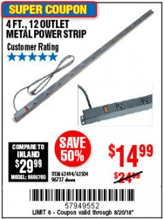 Harbor Freight Coupon 4 FT. 12 OUTLET METAL POWER STRIP Lot No. 96737/62494/62504/61597 Expired: 8/20/18 - $14.99