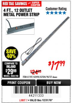 Harbor Freight Coupon 4 FT. 12 OUTLET METAL POWER STRIP Lot No. 96737/62494/62504/61597 Expired: 12/31/18 - $17.99