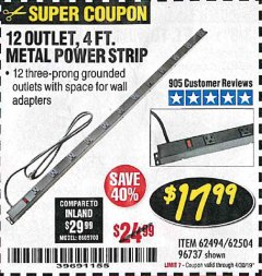 Harbor Freight Coupon 4 FT. 12 OUTLET METAL POWER STRIP Lot No. 96737/62494/62504/61597 Expired: 4/30/19 - $17.99