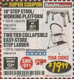 Harbor Freight Coupon TWO TIER EASY-STORE STEP LADDER Lot No. 67514 Expired: 12/31/18 - $19.99