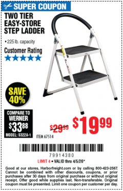 Harbor Freight Coupon TWO TIER EASY-STORE STEP LADDER Lot No. 67514 EXPIRES: 6/30/20 - $19.99