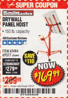 Harbor Freight Coupon 150 LB. CAPACITY DRYWALL/PANEL HOIST Lot No. 62484/69377 Expired: 2/28/19 - $169.99