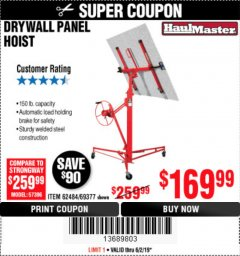 Harbor Freight Coupon 150 LB. CAPACITY DRYWALL/PANEL HOIST Lot No. 62484/69377 Expired: 6/2/19 - $169.99