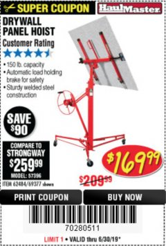 Harbor Freight Coupon 150 LB. CAPACITY DRYWALL/PANEL HOIST Lot No. 62484/69377 Expired: 6/30/19 - $169.99