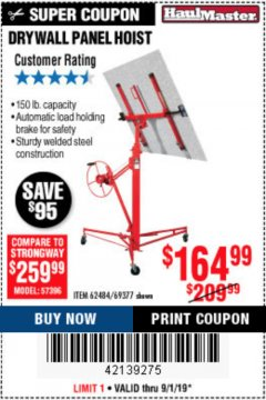 Harbor Freight Coupon 150 LB. CAPACITY DRYWALL/PANEL HOIST Lot No. 62484/69377 Expired: 9/1/19 - $164.99