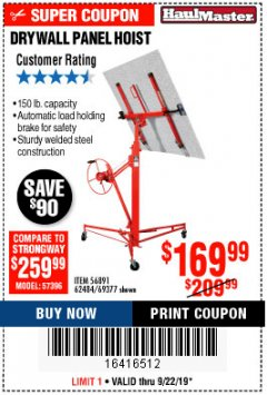Harbor Freight Coupon 150 LB. CAPACITY DRYWALL/PANEL HOIST Lot No. 62484/69377 Expired: 9/22/19 - $169.99