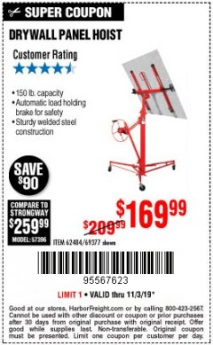 Harbor Freight Coupon 150 LB. CAPACITY DRYWALL/PANEL HOIST Lot No. 62484/69377 Expired: 11/3/19 - $169.99