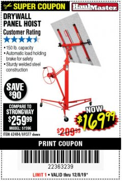 Harbor Freight Coupon 150 LB. CAPACITY DRYWALL/PANEL HOIST Lot No. 62484/69377 Expired: 12/8/19 - $169.99