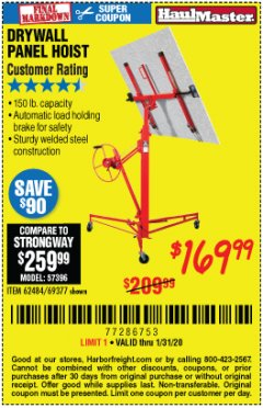 Harbor Freight Coupon 150 LB. CAPACITY DRYWALL/PANEL HOIST Lot No. 62484/69377 Expired: 1/31/20 - $169.99