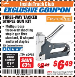 Harbor Freight ITC Coupon THREE-WAY TACKER STAPLE GUN KIT Lot No. 62992 Expired: 11/30/19 - $6.49