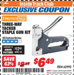 Harbor Freight ITC Coupon THREE-WAY TACKER STAPLE GUN KIT Lot No. 62992 Expired: 2/29/20 - $6.49