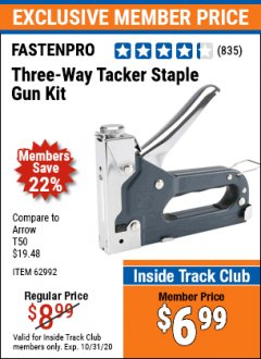 Harbor Freight ITC Coupon THREE-WAY TACKER STAPLE GUN KIT Lot No. 62992 Expired: 10/31/20 - $6.99
