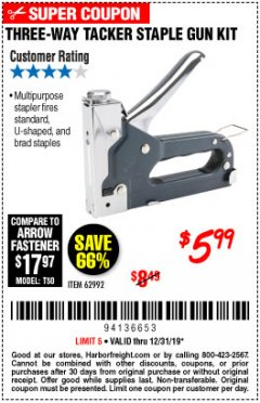 Harbor Freight Coupon THREE-WAY TACKER STAPLE GUN KIT Lot No. 62992 Expired: 12/31/19 - $5.99