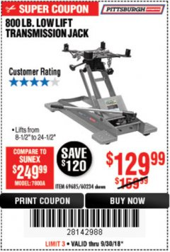 Harbor Freight Coupon 800 LB. CAPACITY LOW LIFT TRANSMISSION JACK Lot No. 69685/60234 Expired: 9/30/18 - $129.99