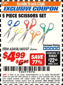 Harbor Freight ITC Coupon 5 PIECE SCISSORS SET Lot No. 62458/60337 Expired: 7/31/18 - $4.99