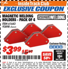 Harbor Freight ITC Coupon 4 PIECE MAGNETIC WELDING HOLDERS Lot No. 61643/93898 Expired: 9/30/18 - $3.99