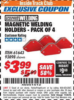 Harbor Freight ITC Coupon 4 PIECE MAGNETIC WELDING HOLDERS Lot No. 61643/93898 Expired: 11/30/18 - $3.99