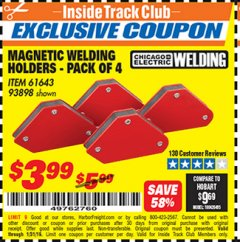 Harbor Freight ITC Coupon 4 PIECE MAGNETIC WELDING HOLDERS Lot No. 61643/93898 Expired: 1/31/19 - $3.99