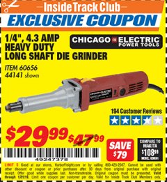 "Harbor Freight ITC Coupon 1/4"" HEAVY DUTY LONG SHAFT DIE GRINDER Lot No. 60656/44141 Expired: 1/31/19 - $29.99"