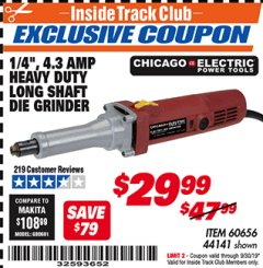 "Harbor Freight ITC Coupon 1/4"" HEAVY DUTY LONG SHAFT DIE GRINDER Lot No. 60656/44141 Expired: 9/30/19 - $29.99"