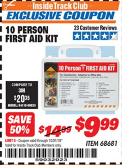 Harbor Freight ITC Coupon 10 PERSON FIRST AID KIT Lot No. 68681 Expired: 10/31/19 - $9.99