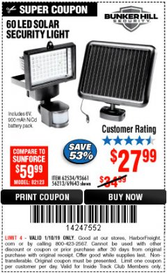 Harbor Freight ITC Coupon 60 LED SOLAR SECURITY LIGHT Lot No. 60524/62534/56213/69643/93661 Expired: 1/10/19 - $27.99