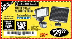 Harbor Freight Coupon 60 LED SOLAR SECURITY LIGHT Lot No. 60524/62534/56213/69643/93661 Expired: 6/2/18 - $29.99