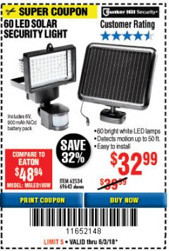Harbor Freight Coupon 60 LED SOLAR SECURITY LIGHT Lot No. 60524/62534/56213/69643/93661 Expired: 6/3/18 - $32.99