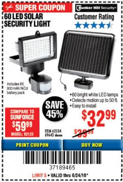 Harbor Freight Coupon 60 LED SOLAR SECURITY LIGHT Lot No. 60524/62534/56213/69643/93661 Expired: 6/24/18 - $32.99