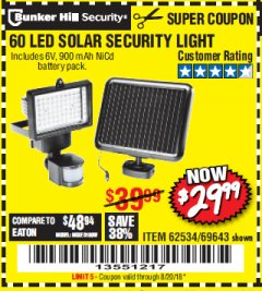 Harbor Freight Coupon 60 LED SOLAR SECURITY LIGHT Lot No. 60524/62534/56213/69643/93661 Expired: 8/20/18 - $29.99