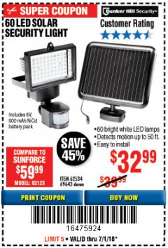 Harbor Freight Coupon 60 LED SOLAR SECURITY LIGHT Lot No. 60524/62534/56213/69643/93661 Expired: 7/1/18 - $32.99