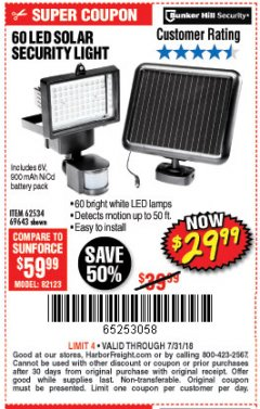 Harbor Freight Coupon 60 LED SOLAR SECURITY LIGHT Lot No. 60524/62534/56213/69643/93661 Expired: 7/31/18 - $29.99