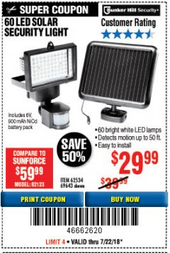 Harbor Freight Coupon 60 LED SOLAR SECURITY LIGHT Lot No. 60524/62534/56213/69643/93661 Expired: 7/22/18 - $29.99